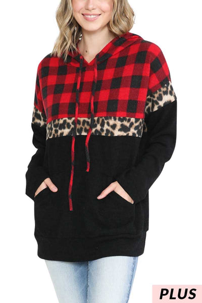 23 HD-B {To The Point}  SALE!! Red Plaid Leopard Hoodie  PLUS SIZE XL 2X 3X