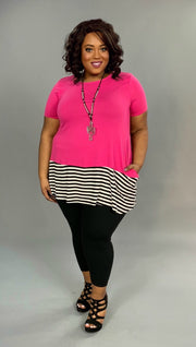 CP-H {Topsy-Turvy} Hot Pink Striped Contrast Tunic with Pockets