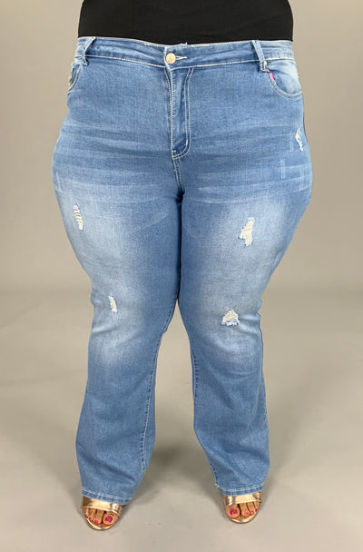 BT-H (Lovely Time) Light Denim W/ Distress & Detail Pockets EXTENDED PLUS Jeans