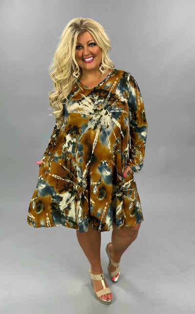 PLS-C {Right About You} Mustard & Grey Printed Dress PLUS SIZE 1X 2X 3X