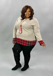 22 CP-G {Clear Your Schedule} SALE!!  Grey Red Plaid Contrast Top PLUS SIZE XL 2X 3X