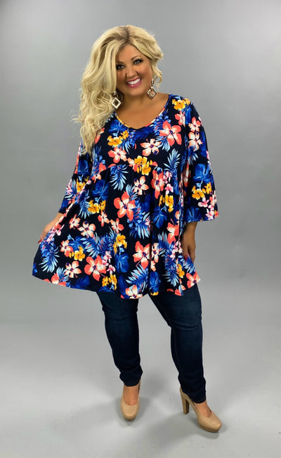 PQ-Z {Great Expectation} Navy Tropical Flower Tunic EXTENDED PLUS SIZE 4X 5X 6X SALE!!