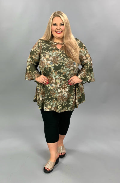 PQ-K {Remember Always} Olive Floral Bell Sleeve Tunic PLUS SIZE 1X 2X 3X