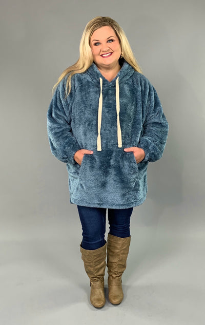 HD-M {The Cozy Touch} Blue/Cement Faux Fur Hoodie SALE!