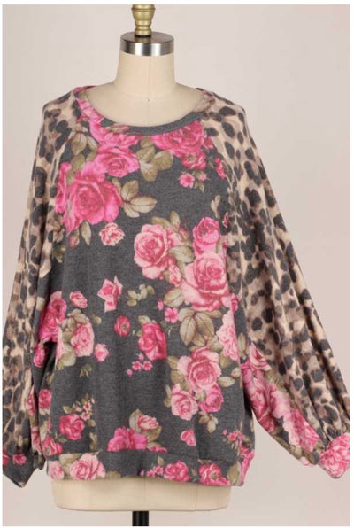 10-02 CP-D {Rose To The Occasion}Rose Leopard Top PLUS SIZE XL 2X 3X