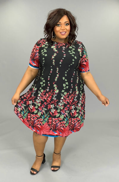 PSS-A (A Lovely Thought) Black Dress With Floral Print EXTENDED PLUS