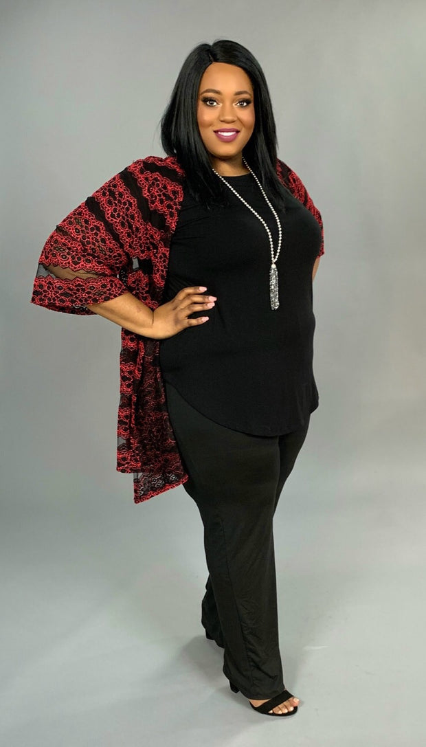 "OT-A ""For You"" Red/Black Floral Cardigan w/ Mesh Detail"