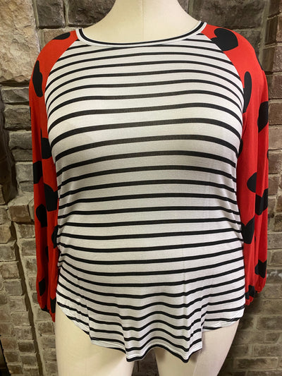 45-GT-A ( Love You More) Black White  Stripe & Heart Tunic PLUS SIZE 1X 2X 3X