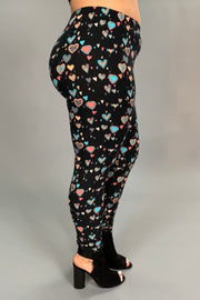 BT/F - Black-Pink Heart Printed Leggings (Soft) EXTENDED PLUS SIZE