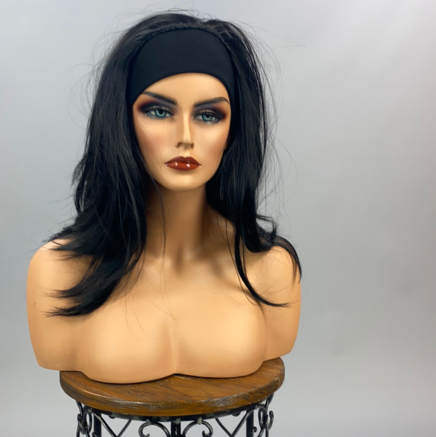 "{Veronica} 20"" Long Straight Jet Black Headband Wig"