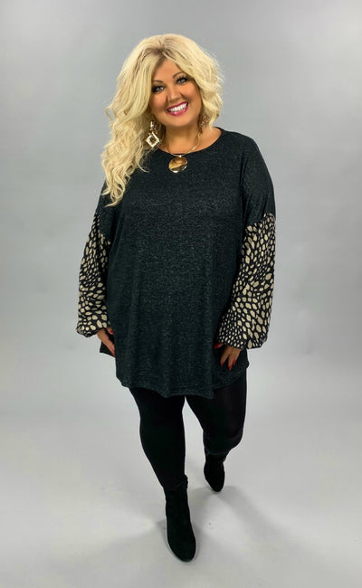 CP-X {Get To Me} Black Tunic Mocha Spot Bubble Sleeve PLUS SIZE XL 2X 3X