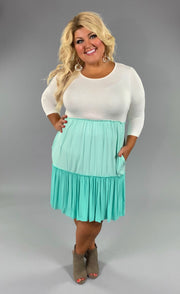 CP-X {Class Act} MINT Dress with Contrast Layers  PLUS SIZE 1X 2X 3X SALE!!