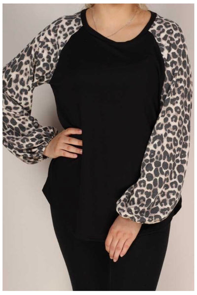 CP-Y {Like Magic} Black Butter Soft Top Taupe Leopard Sleeve EXTENDED PLUS SIZE 3X 4X 5X