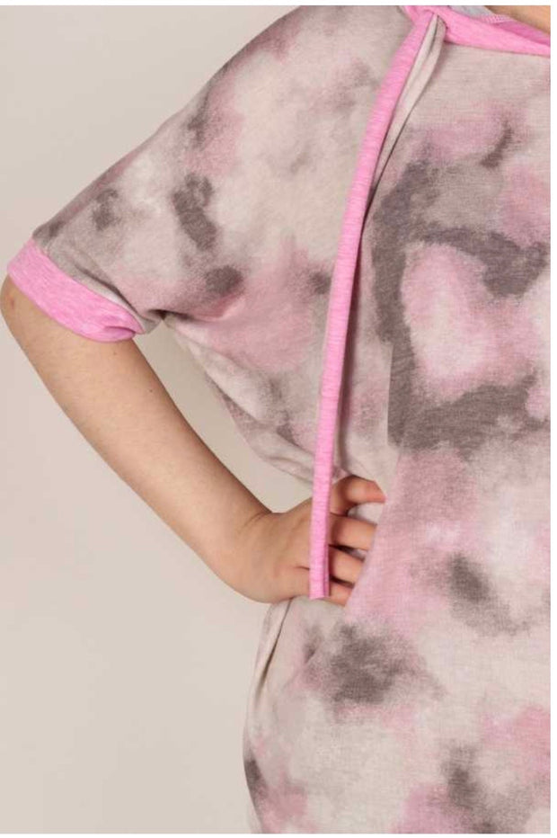 45 HD-A {A Million Dreams} Pink/Grey Tie Dye Hoodie Plus Size 1X 2X 3X