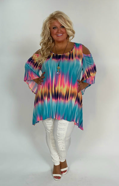 OS-A {Wild Escape} Multi-Color Tie-Dye Off Shoulder Tunic Extended Plus