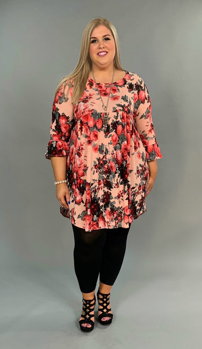 PQ-P {Second That Emotion} Floral Babydoll Tunic with Pockets Extended Plus