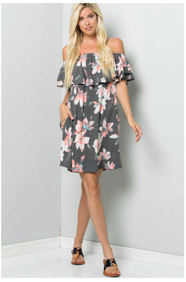 OS-M {Lunch Date} Charcoal Dress With Floral Design PLUS SIZE 1X 2X 3X SALE!!