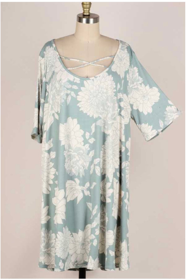 61 PSS-C {Homegrown} Blue Floral Cross Neck Tunic EXTENDED PLUS 3X 4X 5X