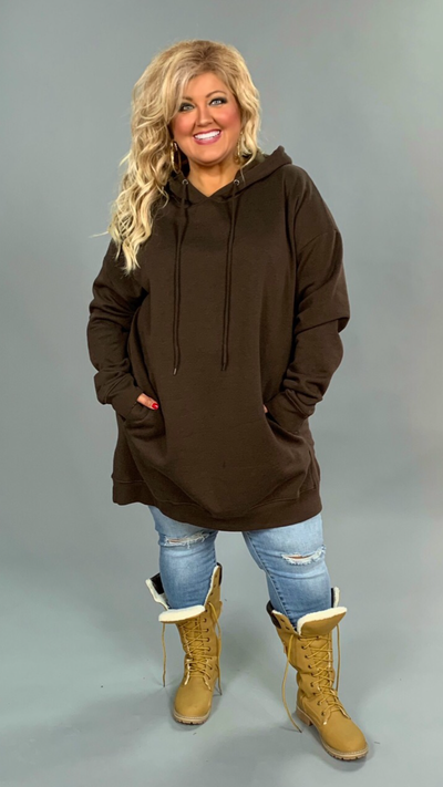 HD-A {Having A Blast} BROWN Long Hoodie with Pockets SALE!