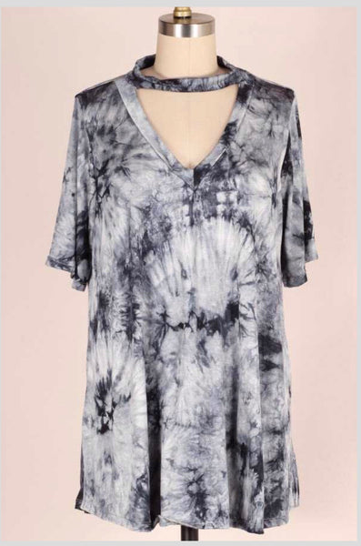 PSS-P {Stick With U} Gray Tie-Dye V-Neck Top with Mock Neck