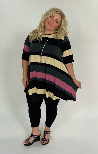 PSS-Q {Eager To Please} Striped Tunic with Pockets Extended Plus