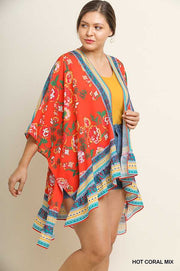 50 OT-D (Dangerous Moods) Umgee Red Floral Ruffled Cardigan XL/1X  1X/2X Plus Size