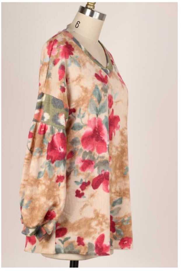 CP-L {Love So Sweet} Taupe Rose Floral Soft Knit Top PLUS SIZE XL 2X 3X