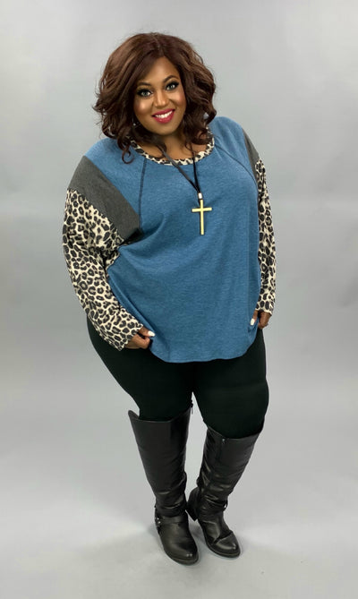 CP-T {Fall Adventure} Denim Blue Leopard Waffle Knit Top EXTENDED PLUS SIZE 4X 5X 6X