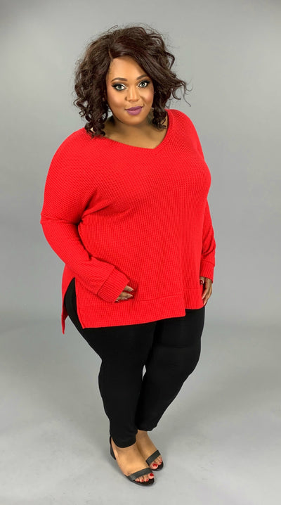 SLS-S {Well Played} RED V-Neck Waffle Knit Top with Split Sides