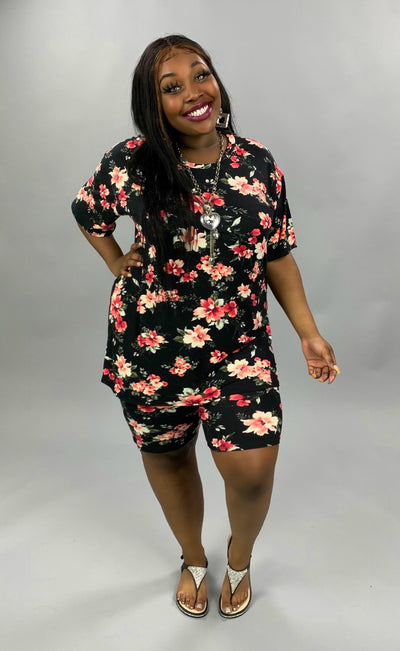 SET-C {Romance Me} Black Floral Lounge Set EXTENDED PLUS SIZE 3X 4X 5X SALE!!