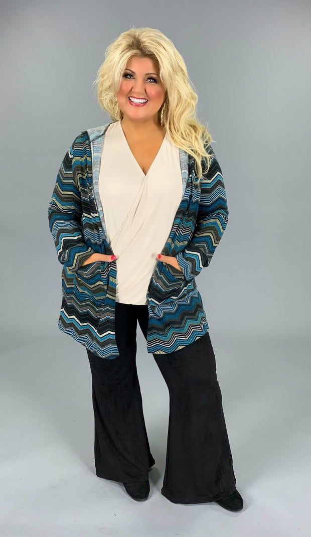 OT-E {Once in A Blue Moon} Chevron Knit Cardigan with Hood