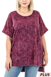 53 PSS-H {Happy Thoughts} Wine Mineral Wash Tunic Plus 1X 2X 3X