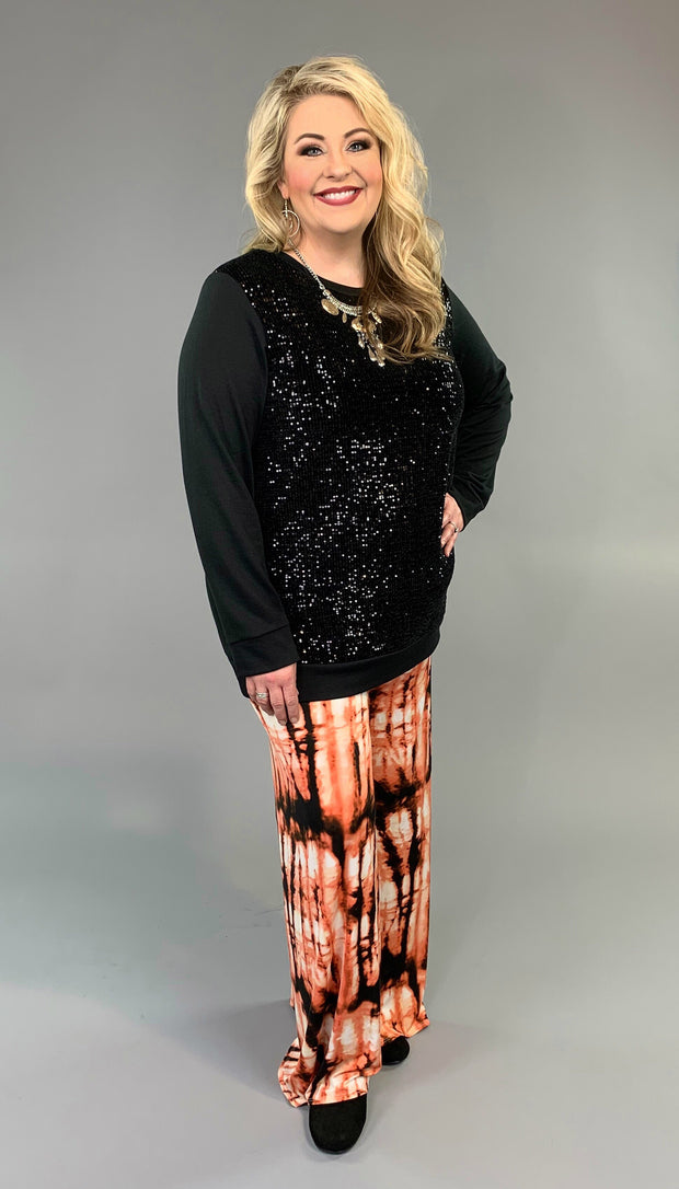 SD-P {Love Never Fails} Black Top with Sequined Front  SALE!!