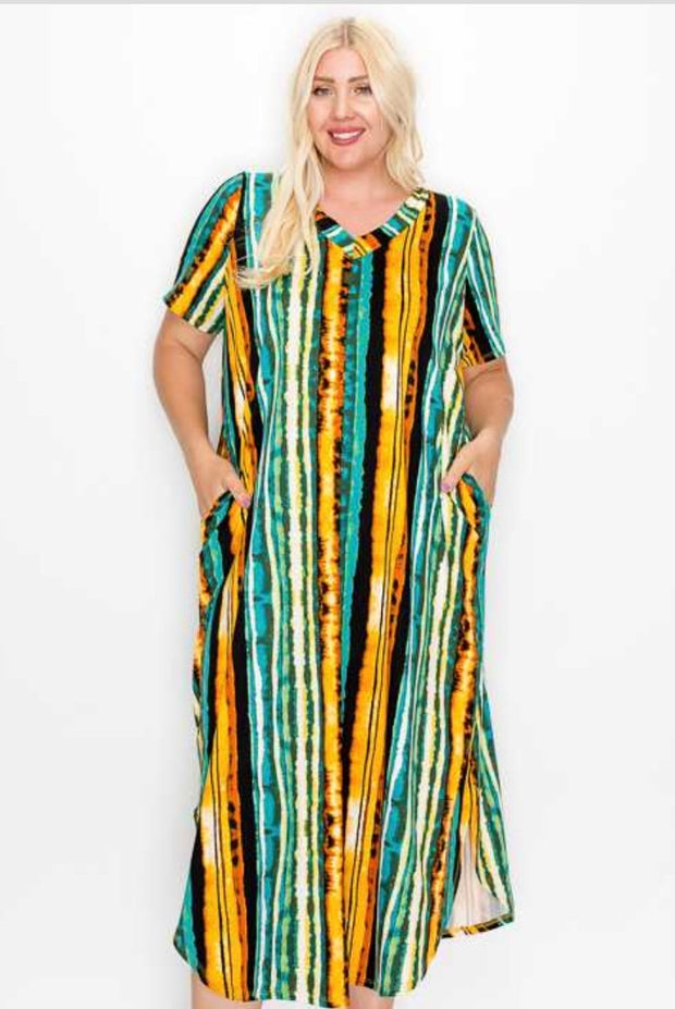 65 LD-R {Sandbar Social} Green Brown Stripe Dress EXTENDED PLUS SIZE 4X 5X 6X