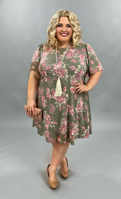 62 PSS-B {Live This Way} Sage/Pink Floral Print Dress EXTENDED PLUS SIZE 3X 4X 5X