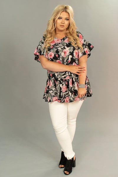PSS-C {Beyond Belief} Black/Pink Floral Top with Ruffle Detail  SALE!!