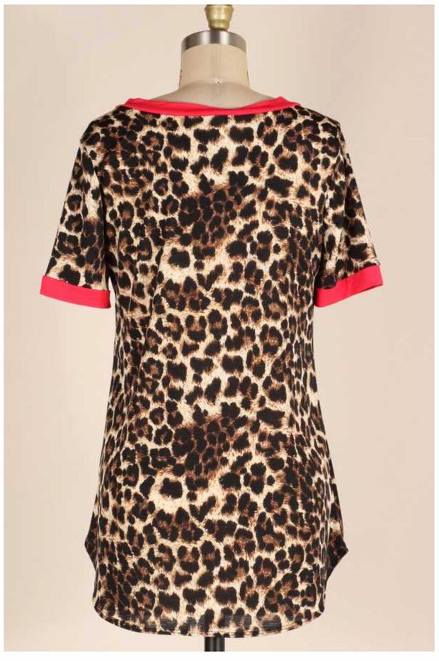 CP-A {Leopard & Lipstick} Leopard V-Neck Top With Red PLUS SIZE 1X 2X 3X
