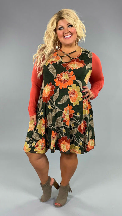 CP-U {Hello Fall} Olive/Rust Floral Print Dress with Criss-Cross & Pockets