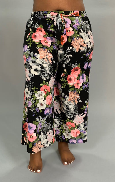 "BT-H Black ""I Remember"" Floral Print Palazzo Pants W/ Bow SALE!"