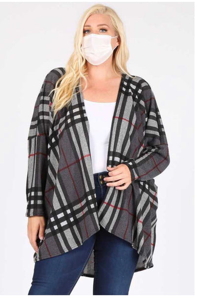 OT-N {Under The Radar} Charcaol Red Plaid Knit Cardigan EXTENDED PLUS SIZE 3X 4X 5X