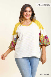 CP-O {Gold Treasures} Umgee Mustard Stripe/Floral Tunic PLUS SIZE XL 1X 2X SALE!!