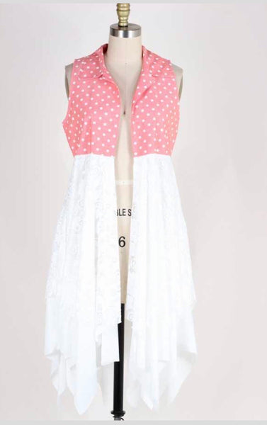 OT-B {Call The Dots} Coral Polka-Dot Lace Vest Cardigan