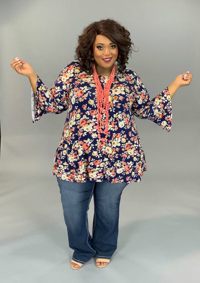 PQ-D ( Make Me Smile) Navy Floral Printed Top With Bell Sleeves EXTENDED PLUS 4X 5X 6X