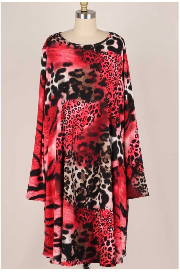 10-21 PLS-K {Like Fire} Red Animal Print Long Sleeve Dress EXTENDED PLUS SIZE 3X 4X 5X