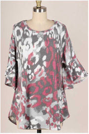 10-13 PQ-D {Love For You} Grey Mauve Printed Tunic PLUS SIZE XL 2X 3X