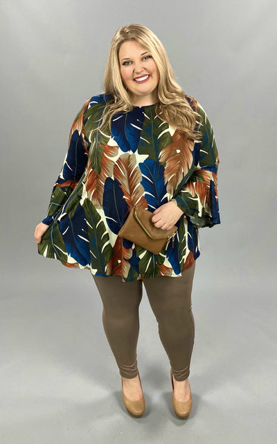 PQ-X {Falling For You}  SALE!! Navy Olive Leaf Print Bell Sleeve EXTENDED PLUS SIZE 3X 4X 5X