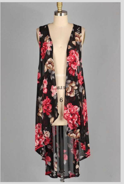 OT-D (Just A Beauty) Black Sheer Floral Vest PLUS SIZE 3X
