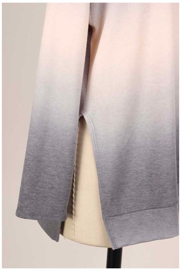 10-21 PLS-A {Fading Out} Grey Mocha Ombre Knit Tunic EXTENDED PLUS SIZE 4X 5X 6X