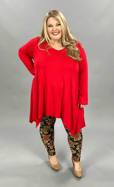 11-13 SLS-H {Think Basic} Red A Symmetrical Tunic  CURVY BRAND EXTENDED PLUS SIZE 3X 4X 5X 6X