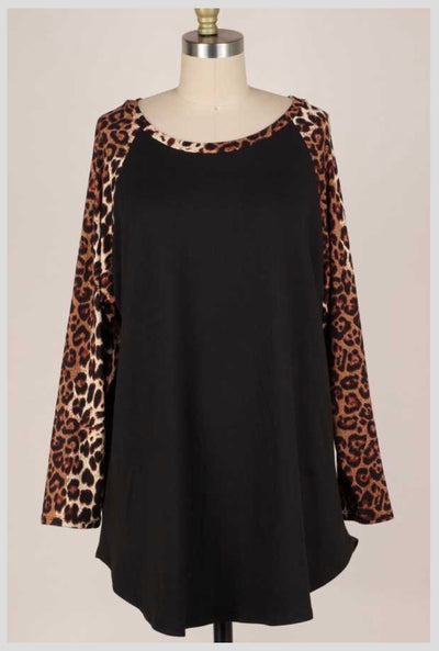 CP-X {Be Fierce} Black  Mocha Leopard Sleeve Butter Soft Top BUTTER SOFT EXTENDED PLUS SIZE 3X 4X 5X
